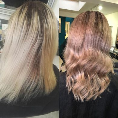 A woman that has had a subtle colour dyed into her hair