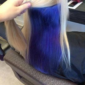 Blue dyed hair done by our team