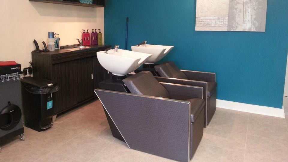 Hair washing stations at the salon