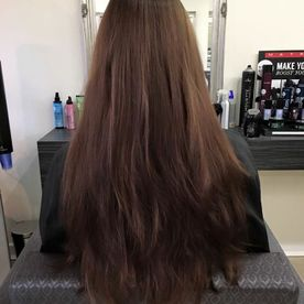 A clients hair after being dyed brown by our team
